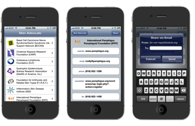 Figure 2. Skin Advocate iPhone App Format