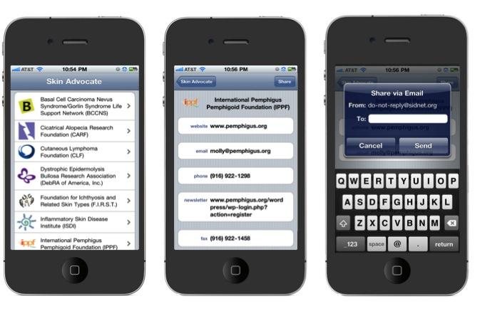Figure 2. Skin Advocate iPhone App Format
