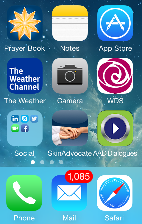 Screen Shot of Dialogues in Derm App with WDS App and Skin Advocate